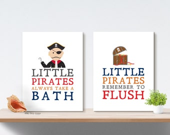 Boy Bathroom Art Prints, Pirate Bath Decor, Wall Art, Home Decor