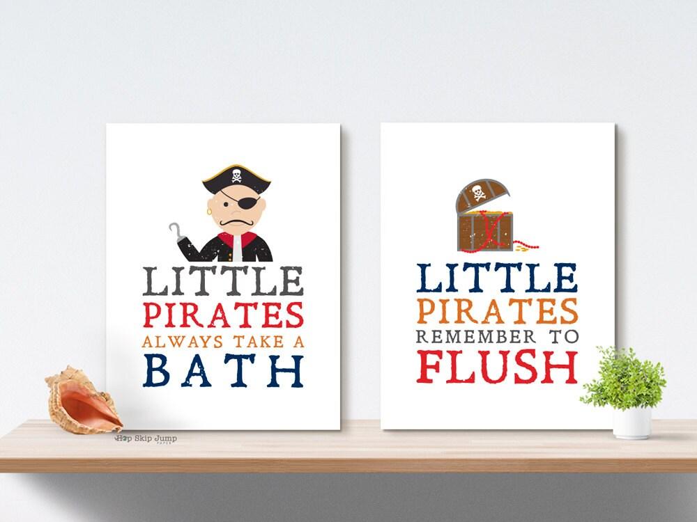 kids bathroom wall decor boy bathroom art prints pirate bath. Black Bedroom Furniture Sets. Home Design Ideas