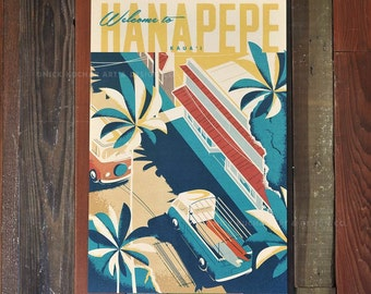 Hanapepe Town - 12x18 Retro Hawaii Travel Print