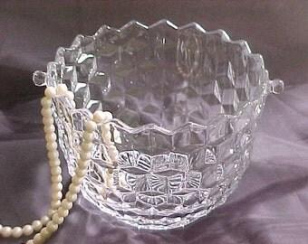 Fostoria American Ice Bucket, Vintage Glass Barware Ice Cube Holder, Mid Century Entertaining Glassware, 1940s Cocktail Hour Bar Accessory