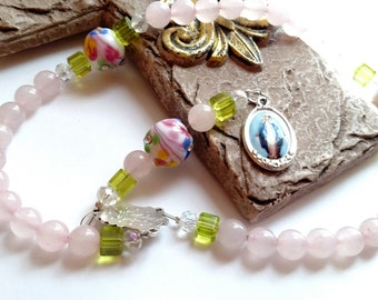 Chaplet in Pink Flowers, Chaplet for Baptism, Chaplet for Confirmation