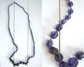 Vintage long purple glass bead necklace
