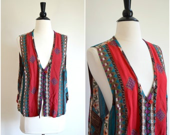 Vintage 1990s bohemian lightweight rayon vest / tribal print top
