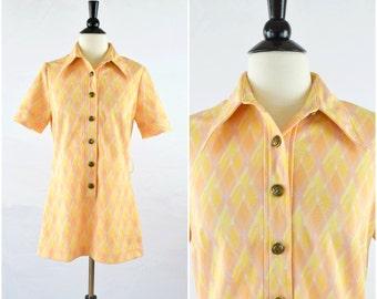 Vintage mod orange plaid long collared top/ button down tunic blouse