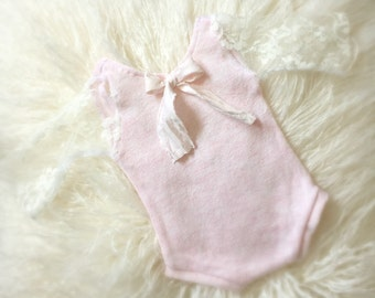Newborn Pink Lace Romper baby girl jumper, newborn clothing, photo prop, long sleeve, onesie, ready to ship
