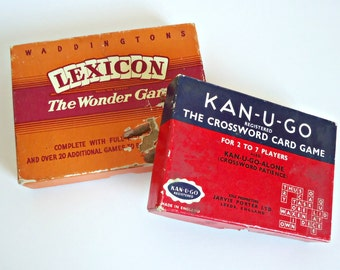 2 Vintage Games Lexicon by Waddingtons & Kan-U-Go Games 1940's