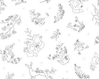 Fabric by the Yard- Timberland- Woodland Frolic in White- from Dear Stella