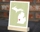 "MICHIGAN State Hand Painted Desk display - Office decor - 5""x 7"", Bookshelf display, Going Away gift for Family and Best friends BFF gift"