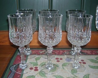 6 Cris D'Arques/Durand Crystal Glass Wine Glasses Longchamp Pattern