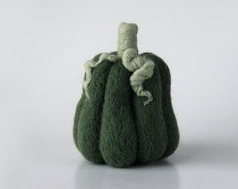 Needle Felted Pumpkin Dark Green Wool Felt Thanksgiving Fall Decor