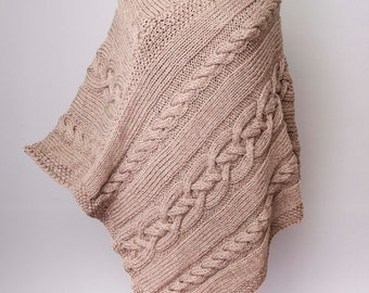 Knitted poncho  cabled poncho  cable pattern .ONE size  Chunky knit poncho,BEIGE