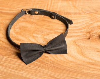 Black Leather bow tie / chic leather bow tie / wedding bow tie / gift idea for him / leather / groomsmen bow tie / mans bowties