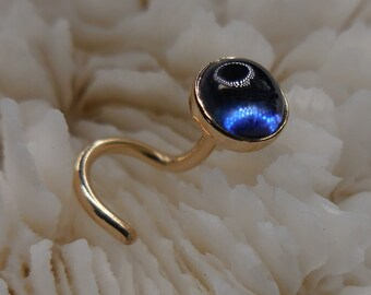 TANZANITE, 14K, 4mm, gold nose jewelry, nose jewelry, nose ring, nose screw, nose stud, said gold, 14K gold, ready to ship