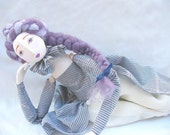 Lavander OOAK art doll Handmade Soft Sculpture elegant handpainted lilac romantic Fabric Art Doll