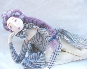 Lavander OOAK art doll Handmade Soft Sculpture elegant handpainted lilac romantic Fabric Art Doll