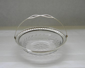 Sterling Silver, Etched Glass Basket