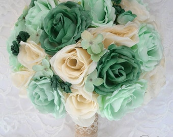 """Wedding Bridal Bouquet 17 Piece Package Silk Flowers Bride Artificial Bouquets TEAL MINT IVORY Rustic Burlap Lace """"Lily of Angeles"""" MITE01"""