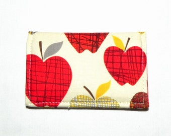 Business Card Holder - Apples in red, beige, grey and yellow.