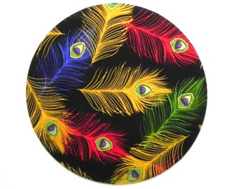 Mouse Pad - Round Fabric mousepad - Peacock feathers in blue, green, red and yellow - Home office / computer / Electronic