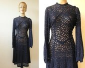 FLASH SALE 30% off vintage 1930s navy blue see through embroidered lace dress long sleeves size s m keyhole back neck WWII 30s Germany