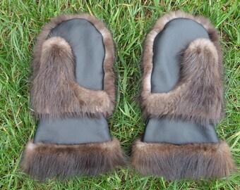 Beaver Fur Gauntlet Mittens P-063