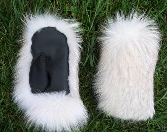 White Fox-Snow Glow Fox Fur Mittens