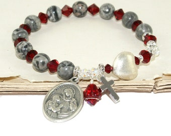 Patron Saint Rosary Bracelet, Swarovski Crystals & Agate Beads, Saint Ann Medal
