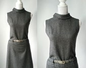 Vintage Dress, 1960s Dress, Mod 60s Dress, Grey Wool Dress, Vintage Grey Dress, 60s Grey Dress, Vintage 1960 Dress, Retro 60s Dress, Wool