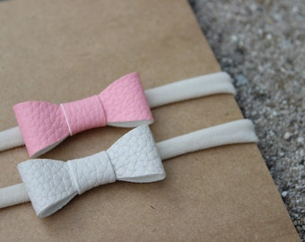 Set of 2 {AVERY} Headbands - Variety Pack - Nylon Headbands - One Size Fits All - Faux Leather - Baby Pink + Cream