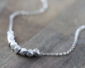 Nuggets Silver Necklace / Modern Minimal Everyday Necklace in Sterling Silver / burnish
