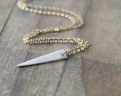 Geometric Minimal Necklace - Triangle Necklace - Mixed Metal Jewelry - Necklaces for Women - Modern Minimal Jewelry Gift