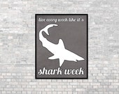 Funny New Years Resolution 2016 Shark Typography Poster Live Every Week Like it's Shark Week Funny Humorous Print Charcoal Gray