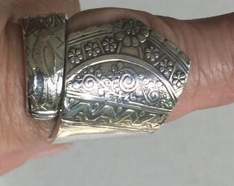 Silverware Spoon Ring Handmade Vintage Silverplate 24