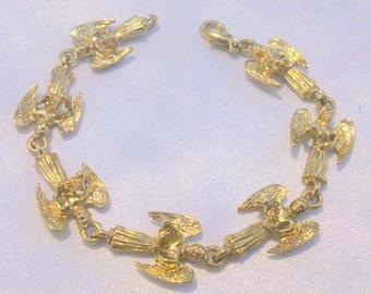 Vintage Gold Tone Angel Link Bracelet