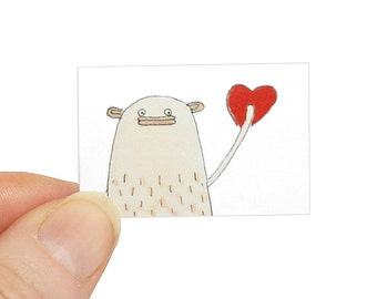Tiny Birthday Card, Miniature Birthday Card & Tiny Envelope, I Love You Card for Best Friend, Poosac with Red Love Heart Card, Love Card
