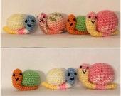 Crocheted Little mini snails - Ready To Ship - Amigurumi