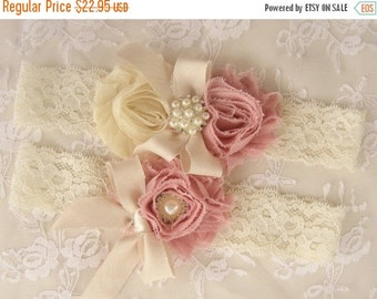 SUMMER SALE Wedding Garter  Bridal Garter Heirloom Rose Set with Toss Garter Heirloom Rose and Tea Stained Ivory with Rhinestones and Pearls