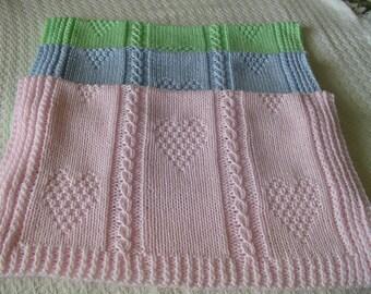Baby Blanket*  Ribbed Border, Handknit Baby Blanket, Nursery Decor Handmade Blanket, Boy Blanket, Girl Baby Blankets, Baby Gift, Baby Shower