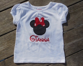 Girl's Toddlers Personalized Minnie Mouse Shirt