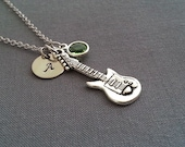 Silver Guitar Necklace. Initial Necklace. Personalized Necklace. Guitar Pendant. Guitar Necklace. Birthstone Necklace. Graduation Gift
