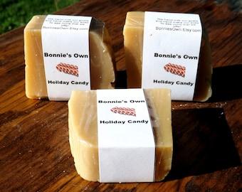 Holiday Candy, 3oz Soap Bar, Bath Soap, Goats Milk Soap, Christmas Soap, Holiday Soap, Ribbon Candy, Candy Soap, Berries, Sugar, Carnation