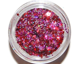 Blooming Rose Sparkle Mix, Solvent Resistant Glitter Mix: 5 GRAM JAR. Raw Nail Glitter Mix for Nail Polish and Nail Art