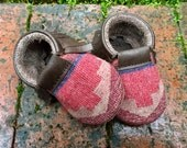 Scout Baby Moccasin 3-6 month // Tribal Pendleton Wool Leather // Rosebud Originals