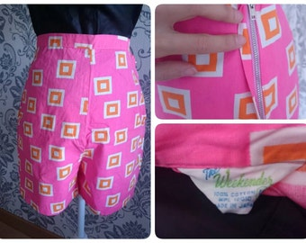 "1950s Atomic print shorts 26 waist hot pink orange ""The weekender"" Made in Japan"