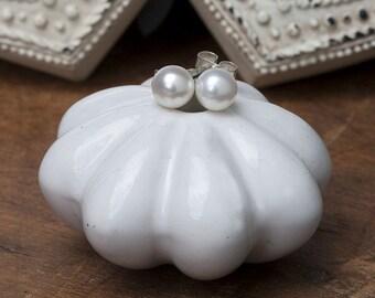 White 6mm Ocean Drop Pearl Earrings