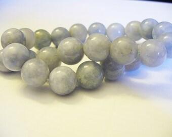 Aquamarine Beads Gemstone  Blue/Gray Round 12MM
