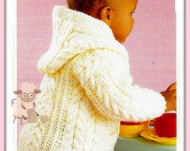"PDF Knitting Pattern - Babies/Childs Hooded Jacket or Coat in Aran Wool 18""-28"" Chests - Instant Download"