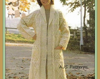 PDF Knitting Pattern for Ladies Aran  Edge To Edge Coat - Instant Download