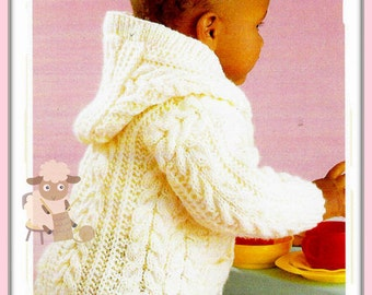 """PDF Knitting Pattern - Babies/Childs Hooded Jacket or Coat in Aran Wool 18""""-28"""" Chests - Instant Download"""