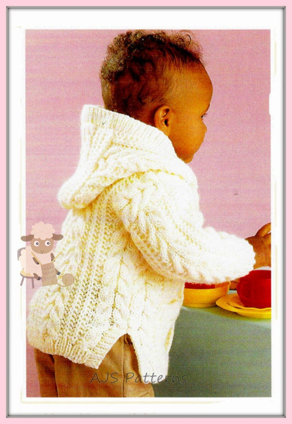 Knitting Pattern Child s Hooded Jacket : PDF Knitting Pattern Babies/Childs Hooded Jacket or Coat in